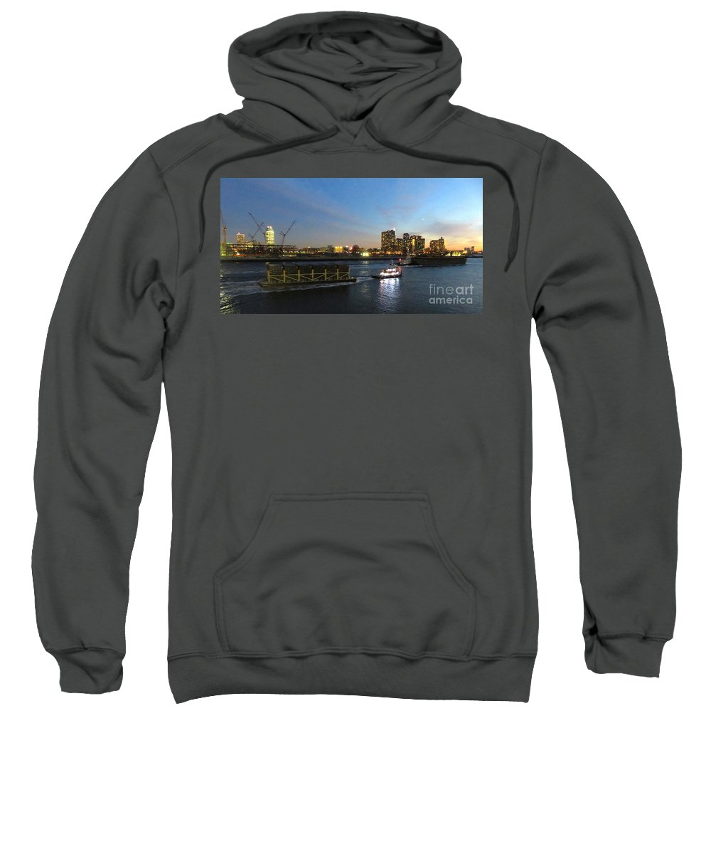 East River Sweatshirt featuring the photograph East River Traffic New York by Ken Lerner