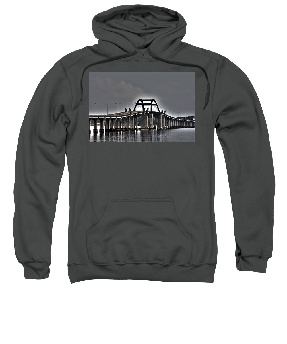 Lewisville Lake Toll Bridge Sweatshirt featuring the photograph East-west Connection by Douglas Barnard