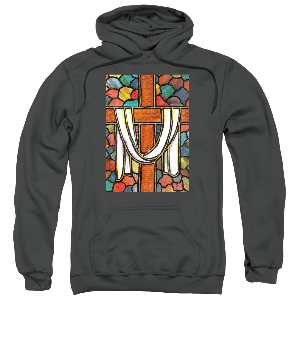 Easter Sweatshirt featuring the painting Easter Cross 6 by Jim Harris