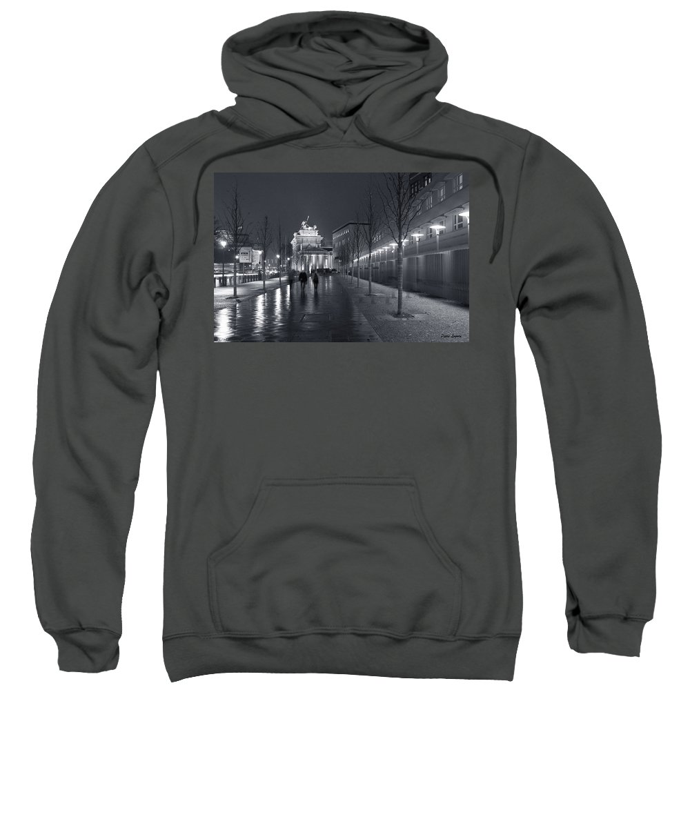 Brandenburg Gate Tor Symbol Landmark Building Architecture Sidewalk Lights Street Old City Germany Mitte Berlin Ebertstrasse Famous Old Sweatshirt featuring the photograph Ebertstrasse And The Brandenburg Gate by Pierre Logwin