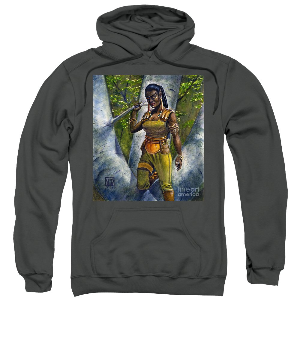 Elf Sweatshirt featuring the painting Ebony Elf by Melissa A Benson