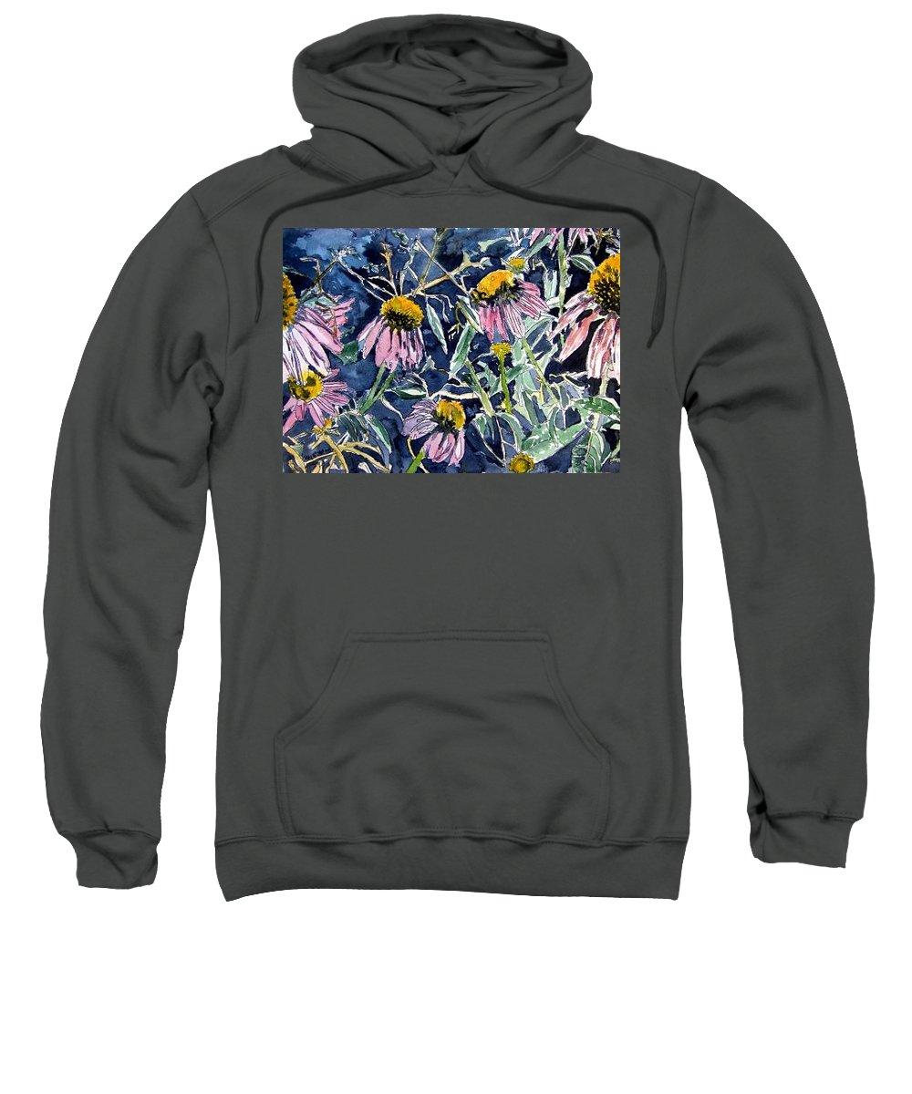 Echinacea Sweatshirt featuring the painting Echinacea Cone Flower Art by Derek Mccrea