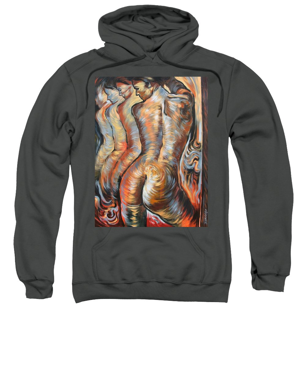 Surrealism Sweatshirt featuring the painting Echo Of A Nude Gesture by Darwin Leon