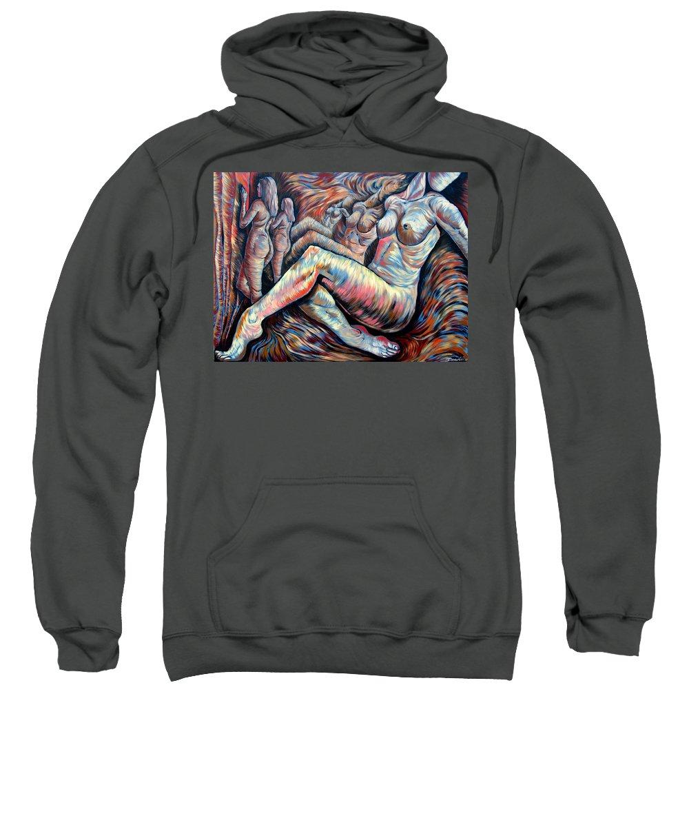 Surrealism Sweatshirt featuring the painting Echo Of A Nude Gesture II by Darwin Leon