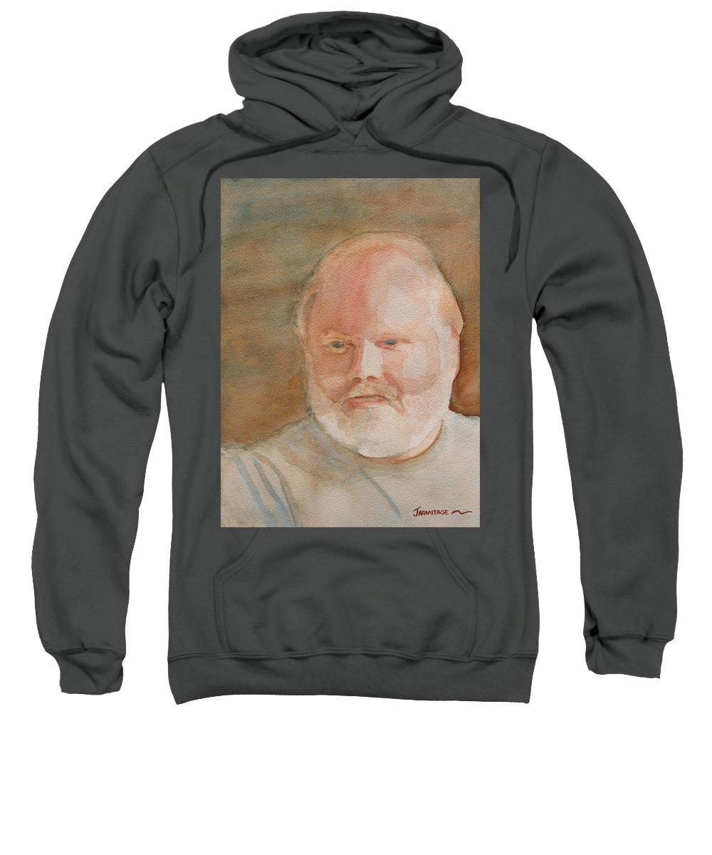 Man Sweatshirt featuring the painting Ed Turns Forty by Jenny Armitage