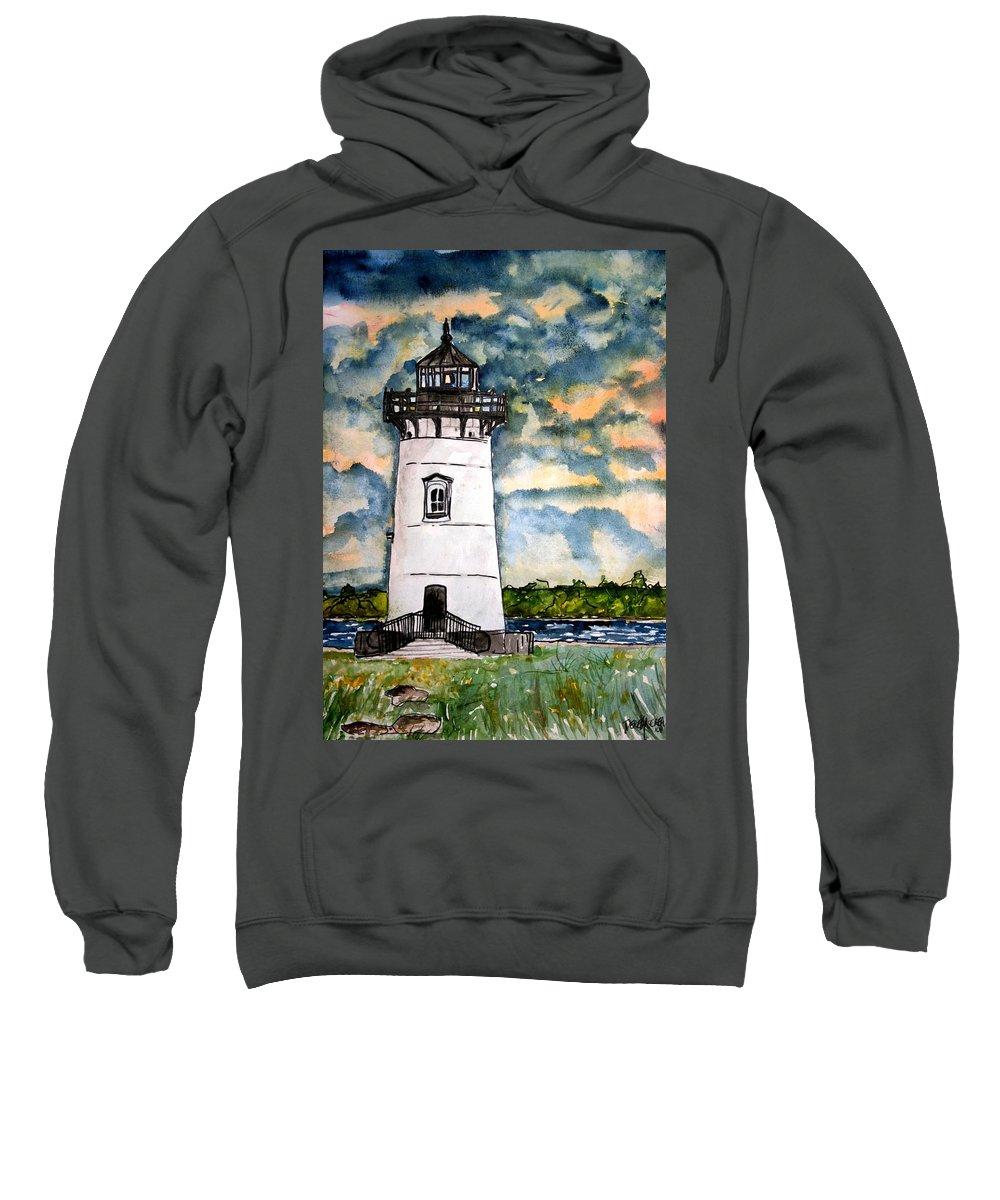 Lighthouse Sweatshirt featuring the painting Edgartown Lighthouse Martha's Vineyard Mass by Derek Mccrea