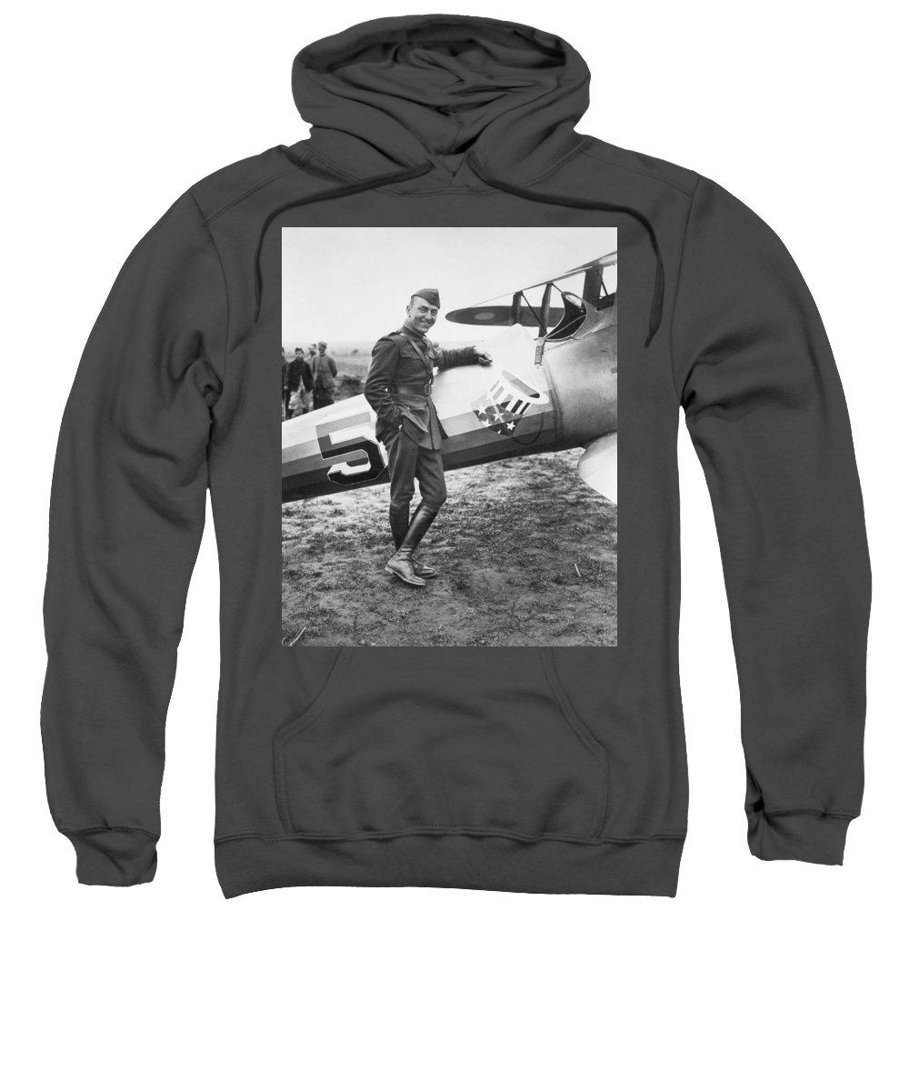 1918 Sweatshirt featuring the photograph Edward V. Rickenbacker by Granger