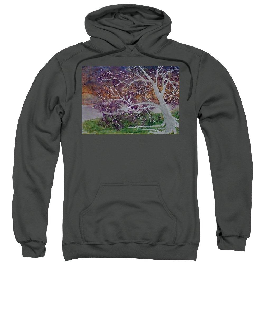 Watercolor Sweatshirt featuring the painting EERIE gothic landscape fine art surreal print by Derek Mccrea