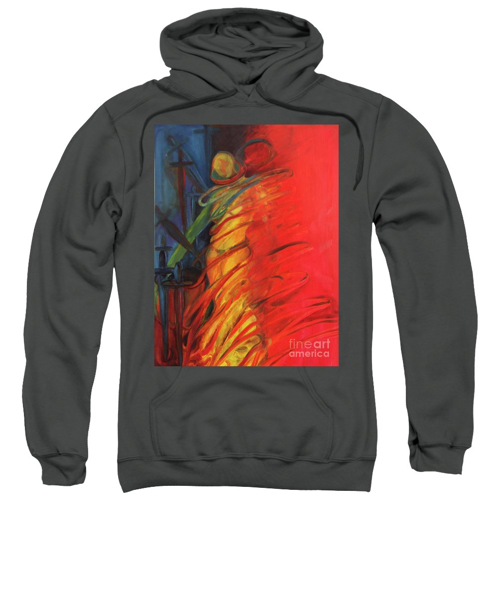 Oil Painting Sweatshirt featuring the painting Eight Of Swords by Daun Soden-Greene