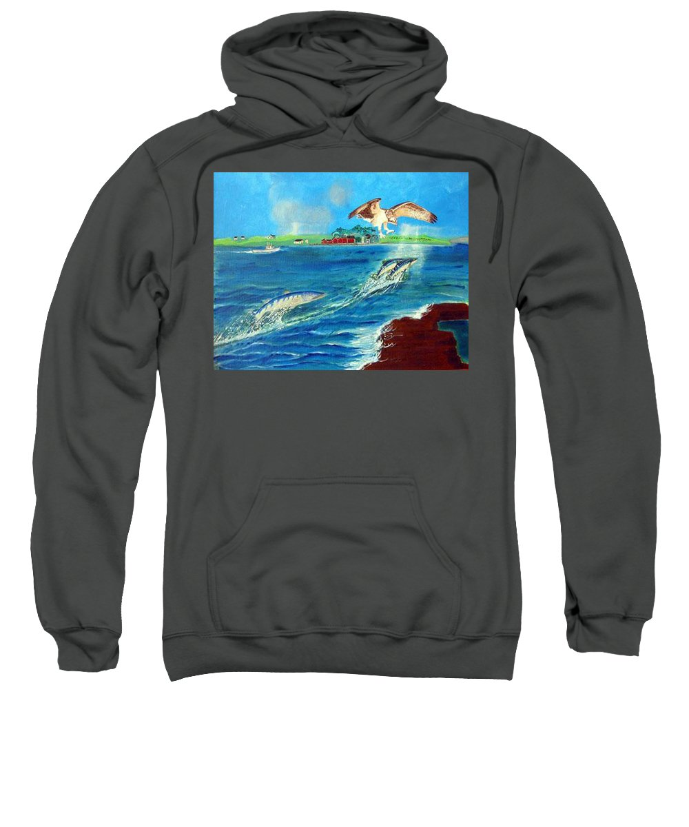 Osprey Sweatshirt featuring the painting Either Way by Richard Le Page