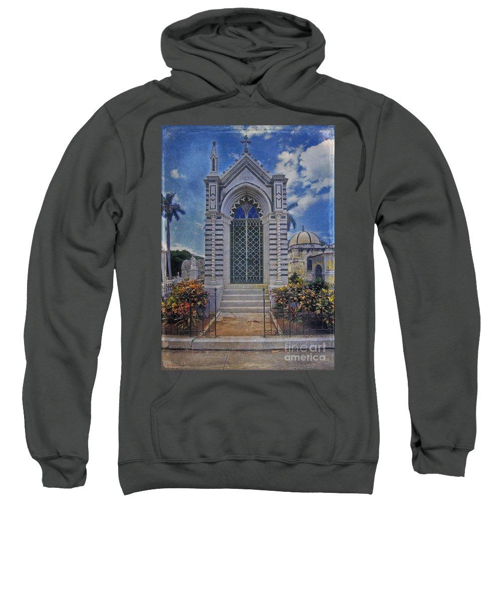 Elaborate Sweatshirt featuring the photograph Elaborate Mausoleum Colon Cemetery Havana Cuba Espada Cemetery by David Zanzinger