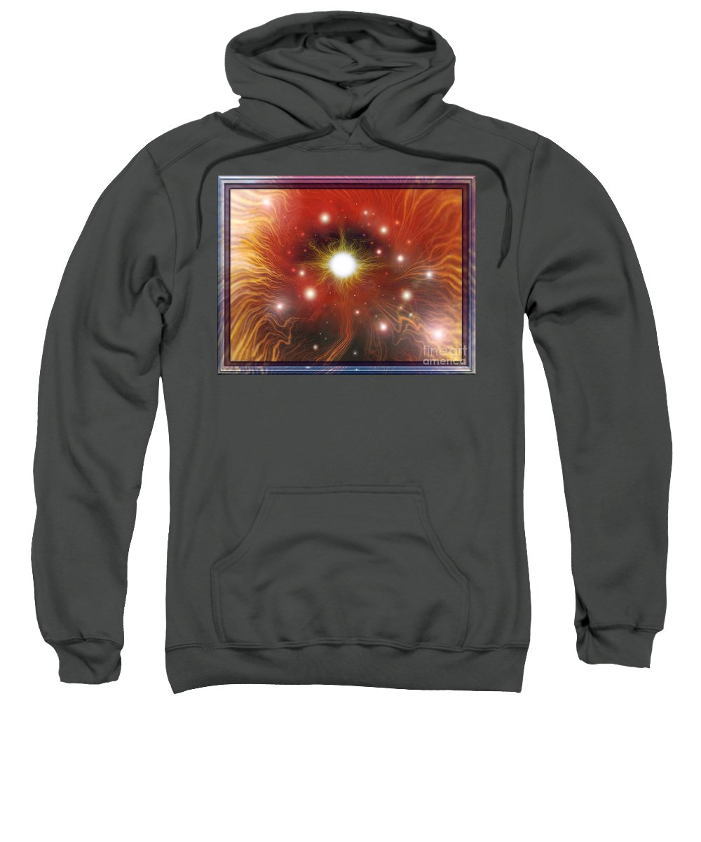 Red Sun Sweatshirt featuring the digital art Electra of RAA by Leonard Rubins