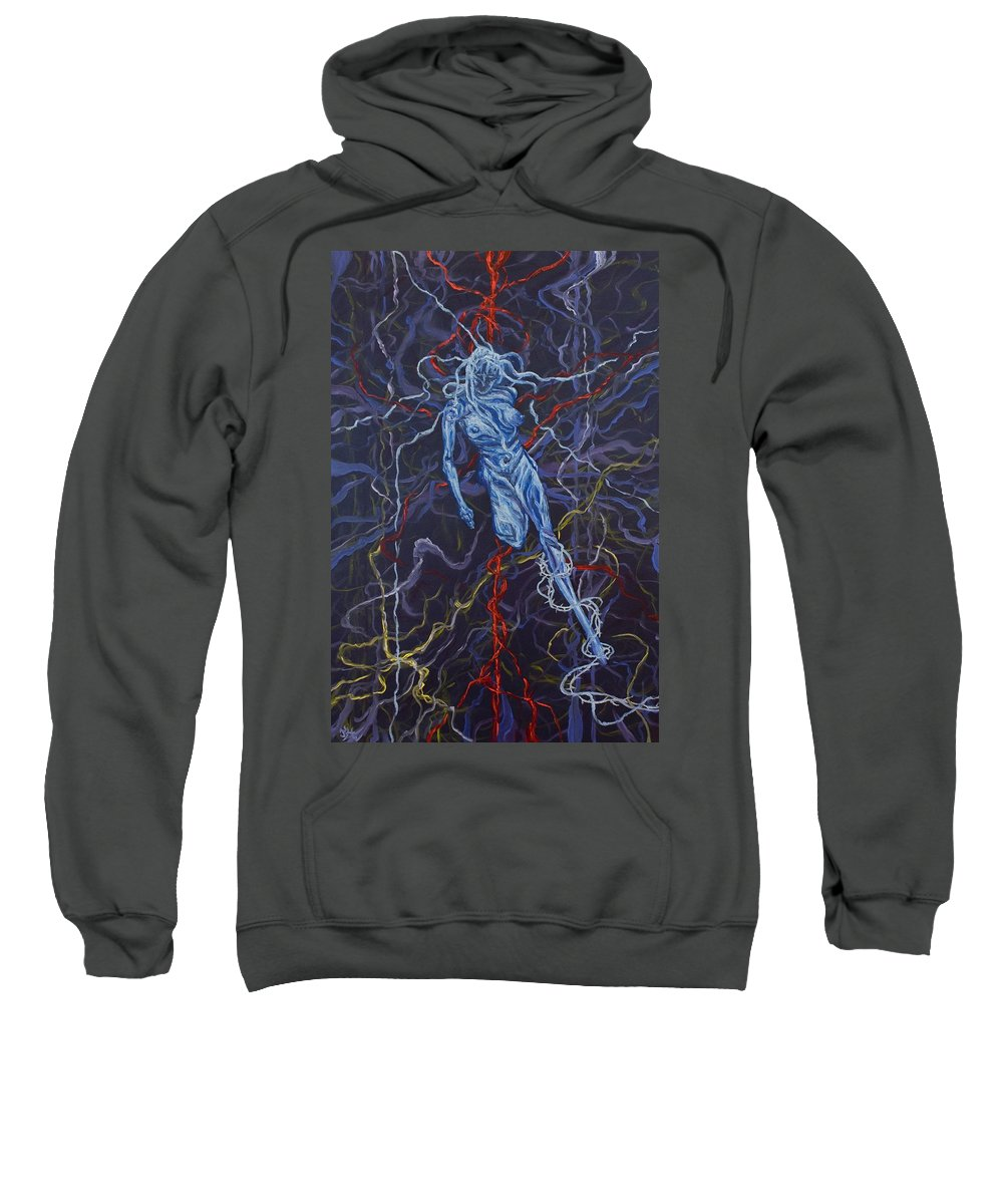 Pain Sweatshirt featuring the painting Electric Pain by Judy Henninger