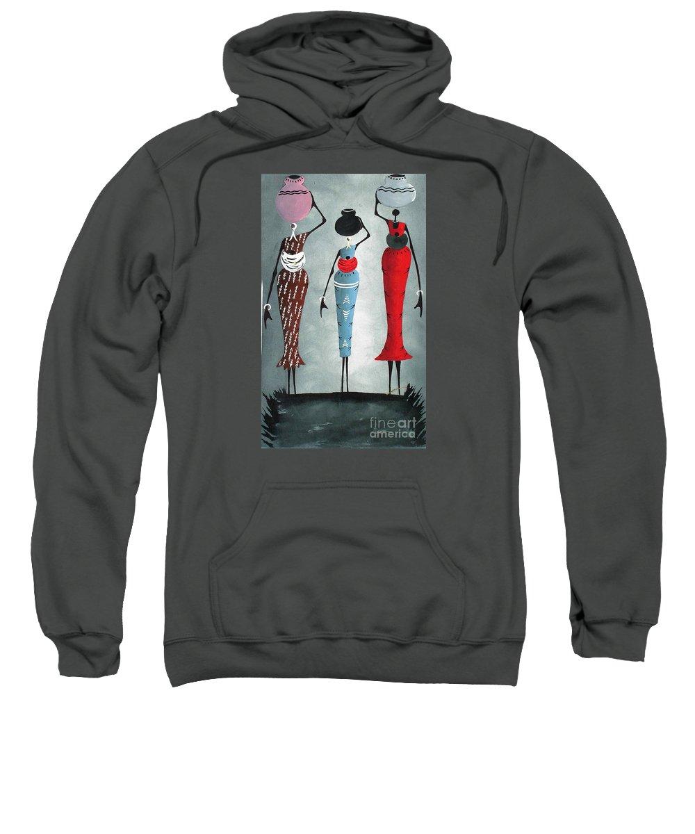 African Sweatshirt featuring the painting Elegance by Saka