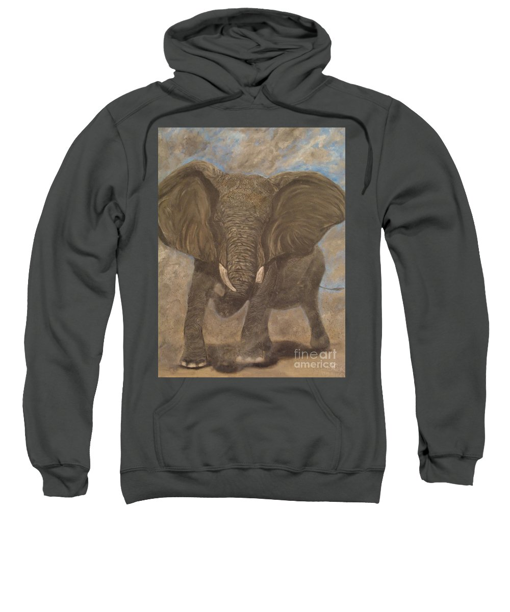 Elephant Sweatshirt featuring the painting Elephant Charging by Nick Gustafson