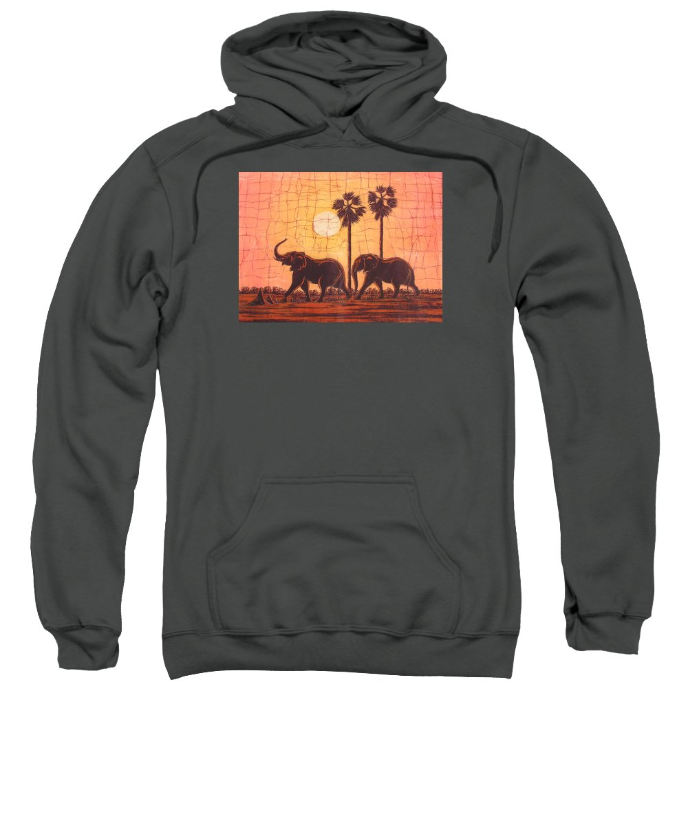African Sweatshirt featuring the painting Elephants In Dry Heat by Peter Chikwondi