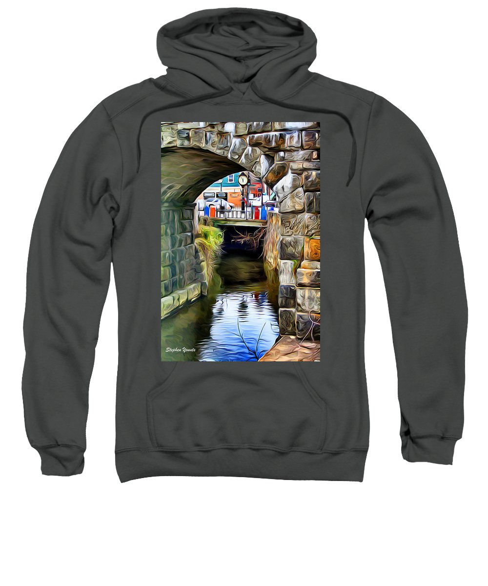 Ellicott Sweatshirt featuring the digital art Ellicott City Bridge Arch by Stephen Younts
