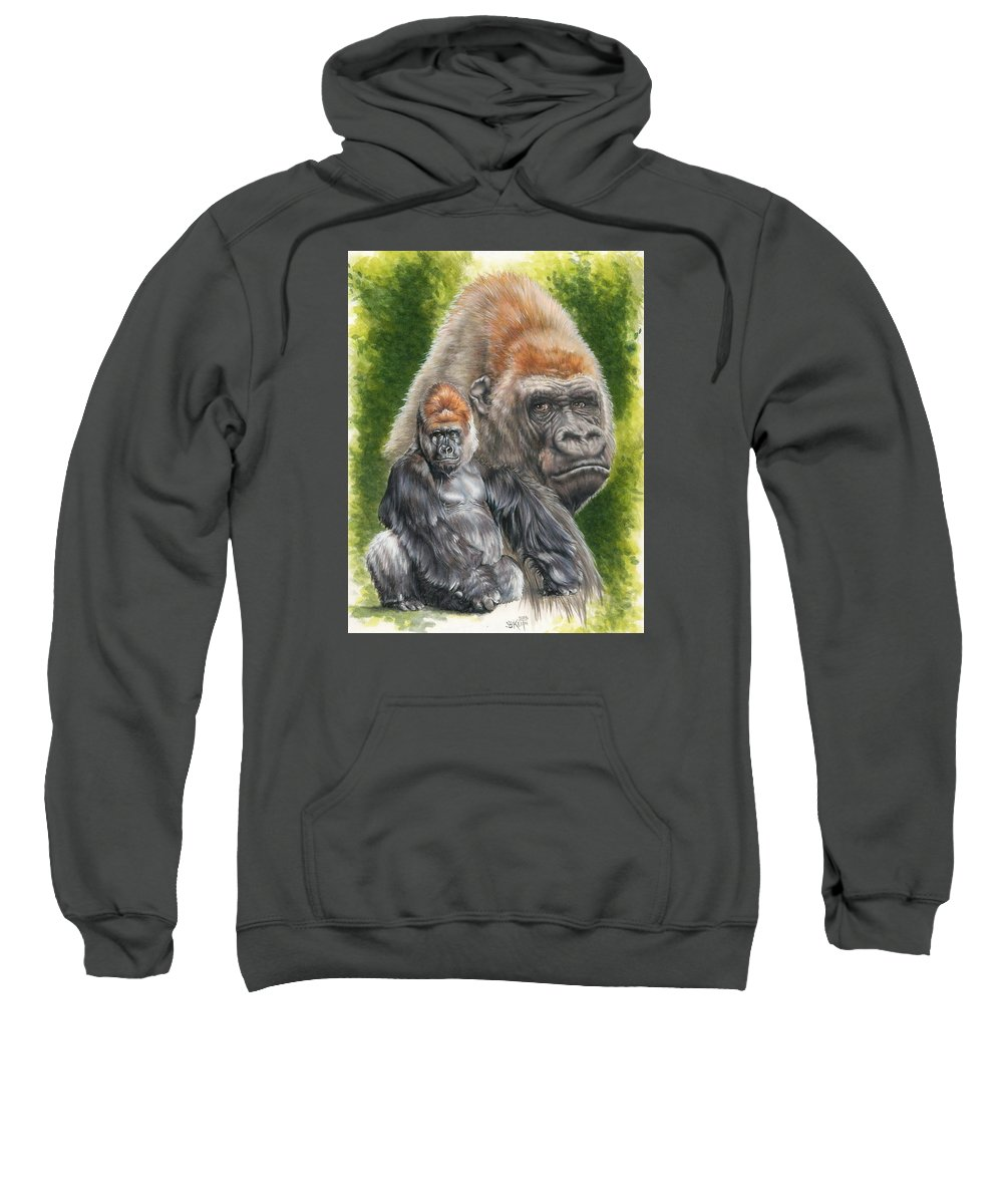 Gorilla Sweatshirt featuring the mixed media Eloquent by Barbara Keith