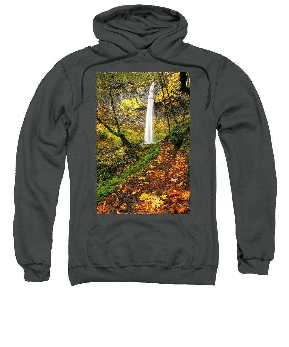 Elowah Falls Sweatshirt featuring the photograph Elowah Autumn Trail by Mike Dawson