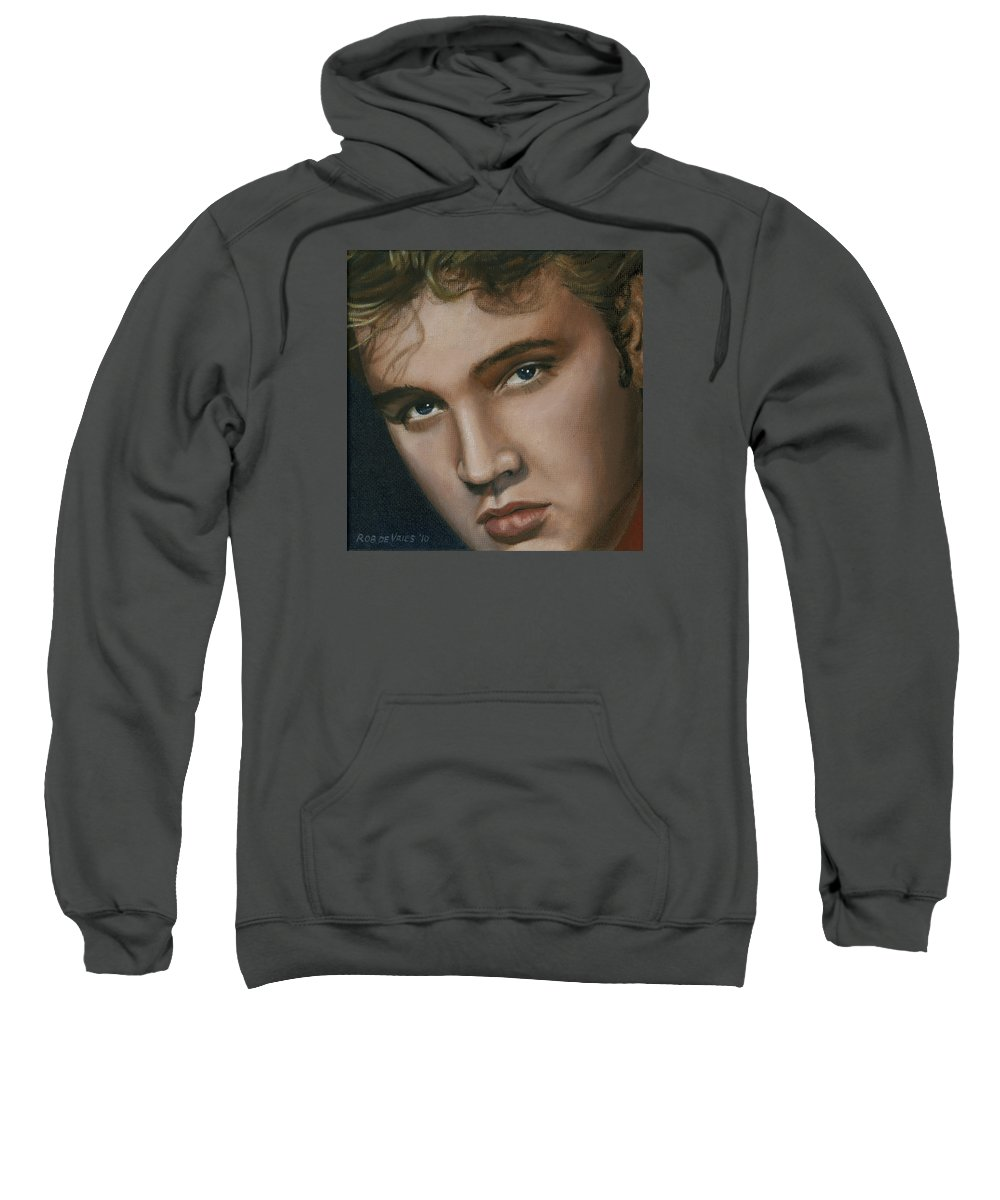 Elvis Sweatshirt featuring the painting Elvis 24 1955 by Rob De Vries