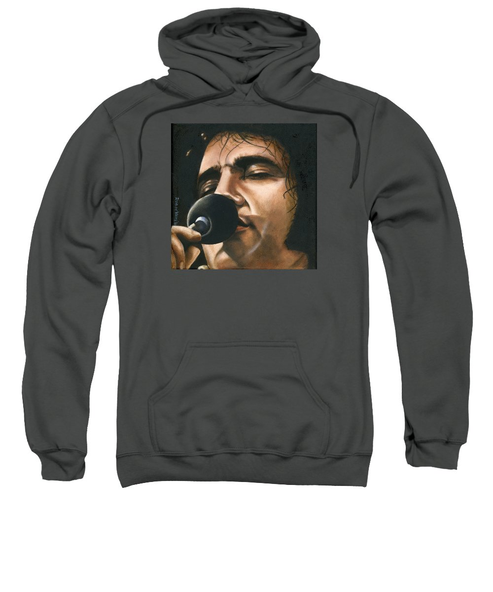 Elvis Sweatshirt featuring the painting Elvis 24 1972 by Rob De Vries