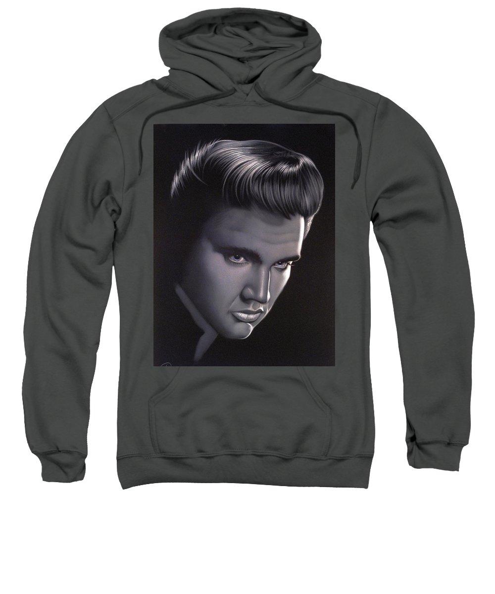 Velvet Painting Sweatshirt featuring the painting Elvis Presley Portrait by Ramirez