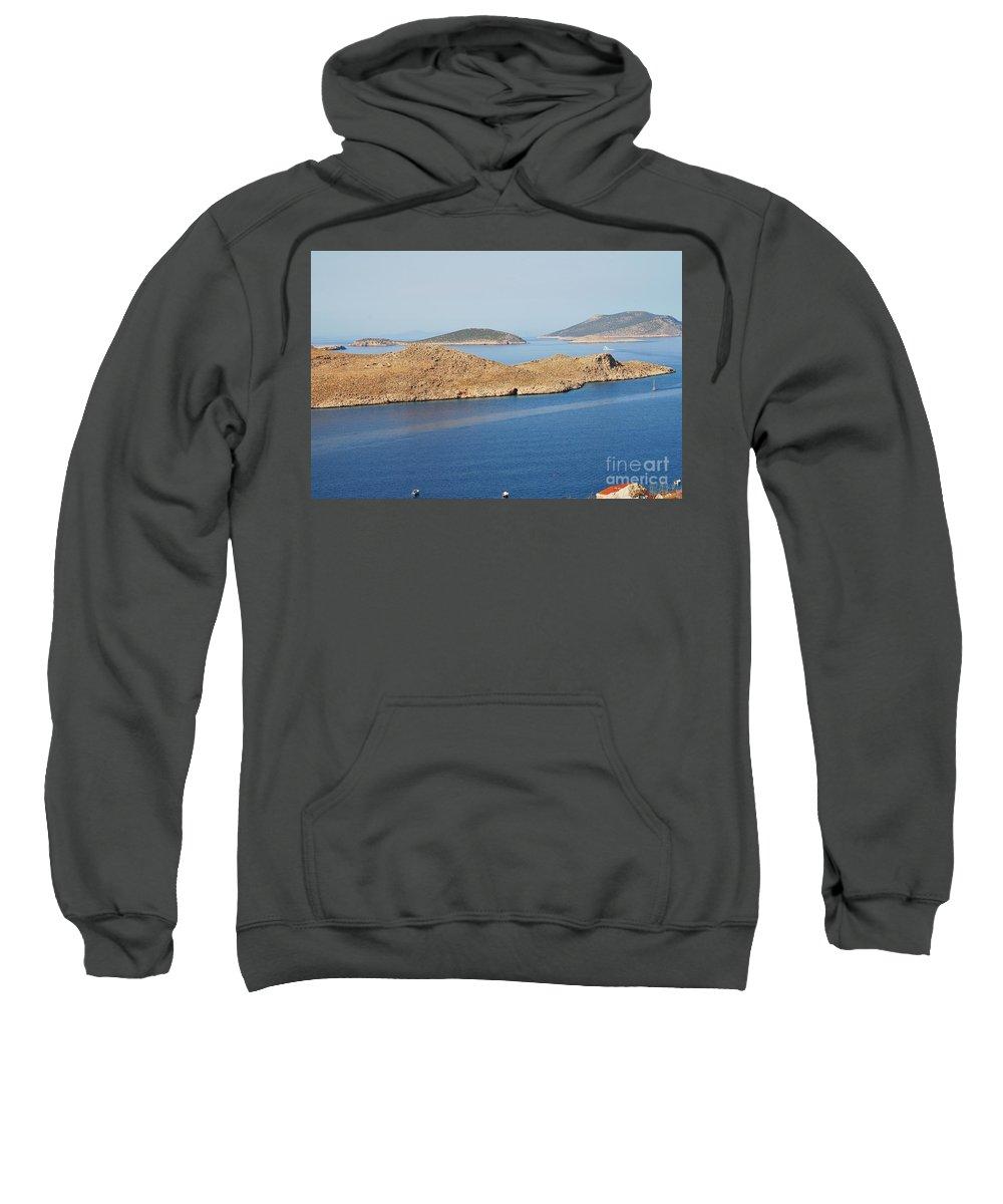 Halki Sweatshirt featuring the photograph Emborio Harbour On Halki Island by David Fowler