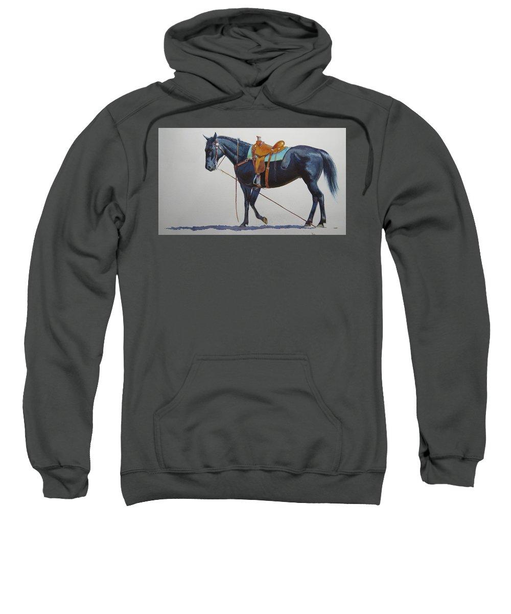 Horse Sweatshirt featuring the painting Emergency Brake by Valerie Coe