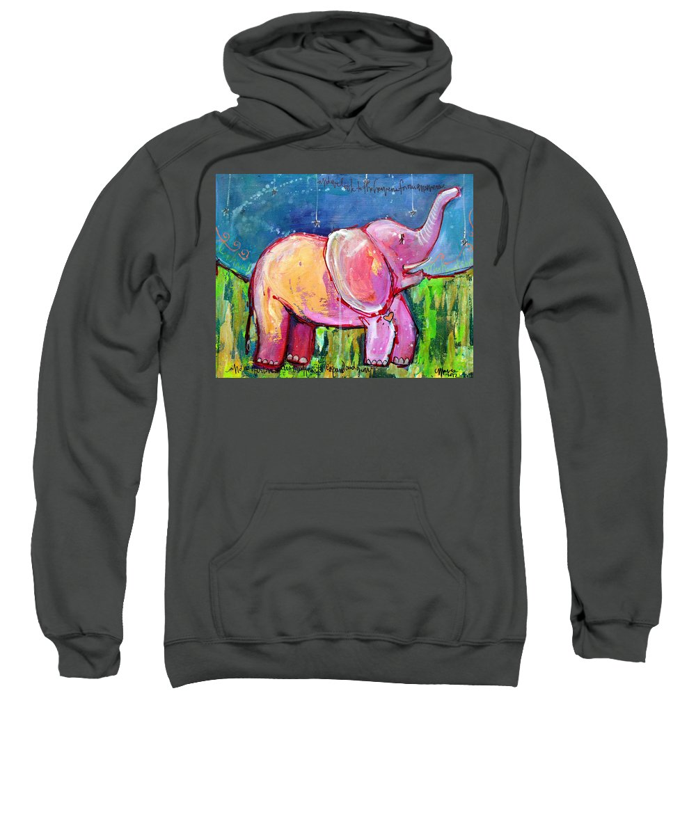 Elephant Sweatshirt featuring the painting Emily's Elephant 2 by Laurie Maves ART