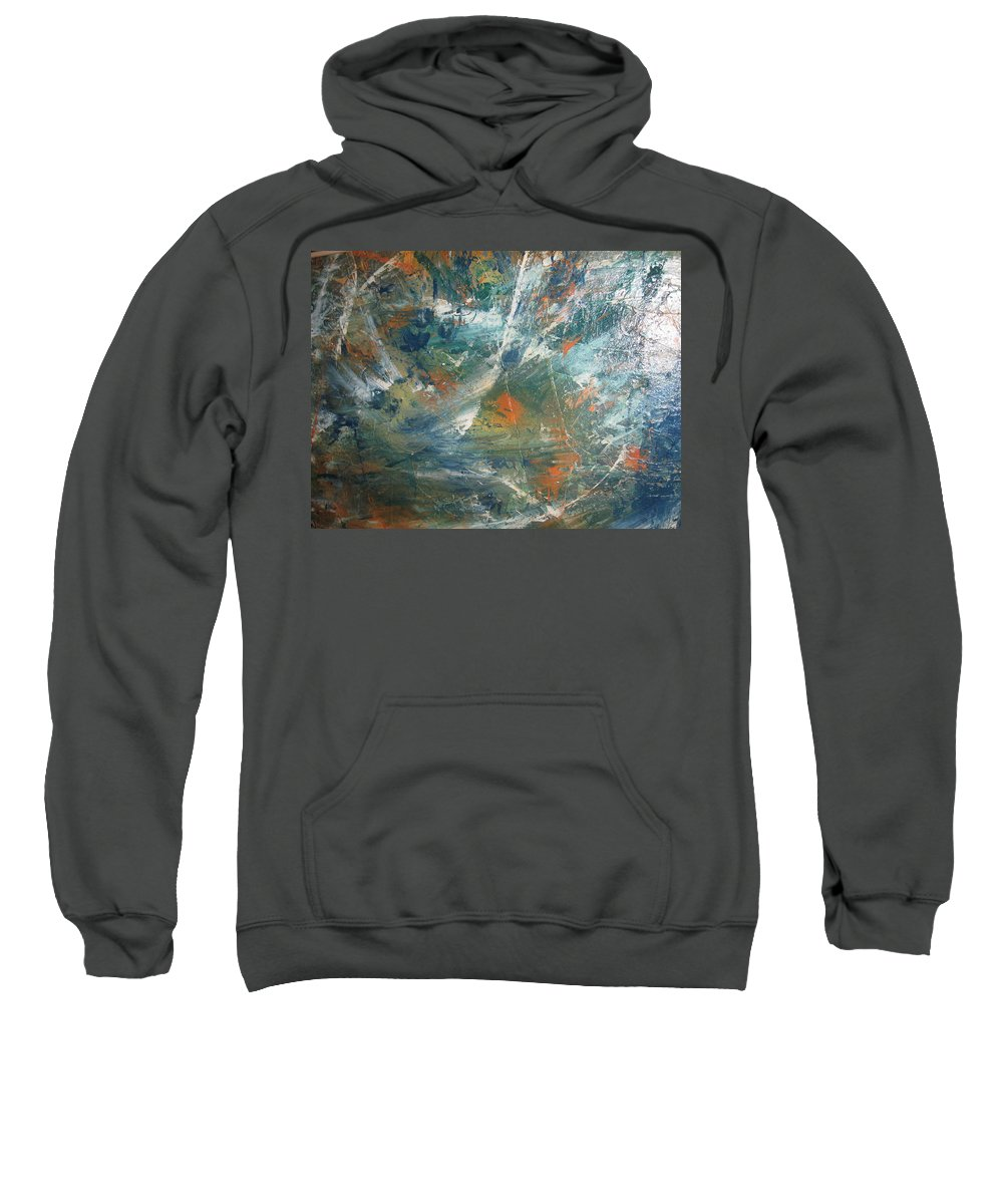 Non Duality Sweatshirt featuring the painting Emotional Deluge by Paula Andrea Pyle