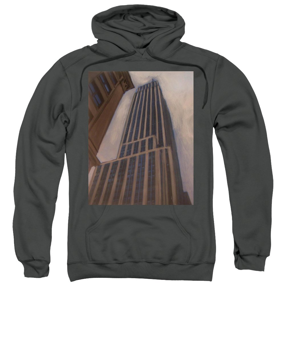 Empire State Building Sweatshirt featuring the mixed media Empire State Building 1 by Anita Burgermeister