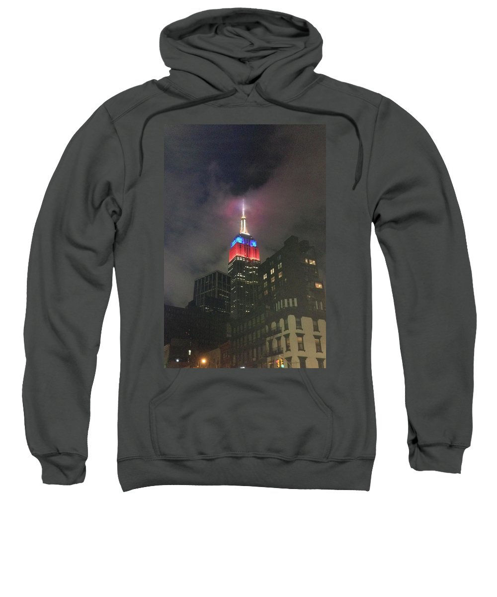 Empire State Building Sweatshirt featuring the photograph Empire State Building In The Fog by Mike Roff