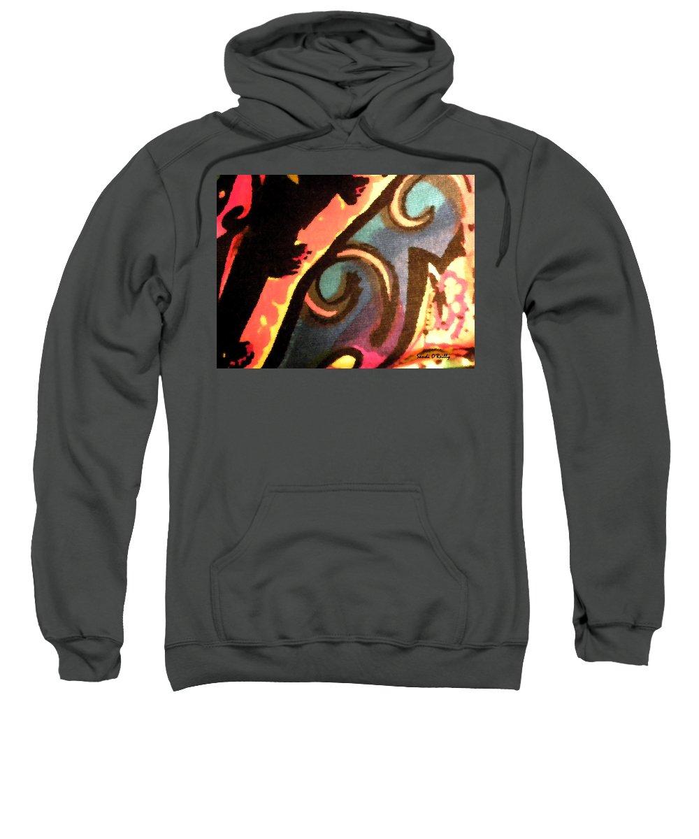 Abstract Sweatshirt featuring the mixed media En Joy Ll by Sandi OReilly