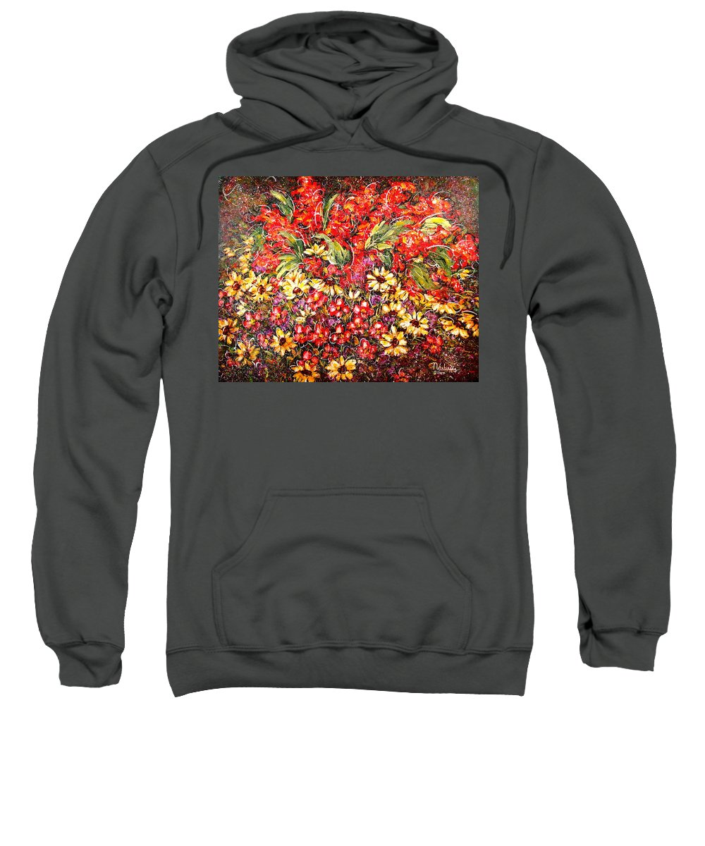 My Garden Sweatshirt featuring the painting Enchanted Garden by Natalie Holland