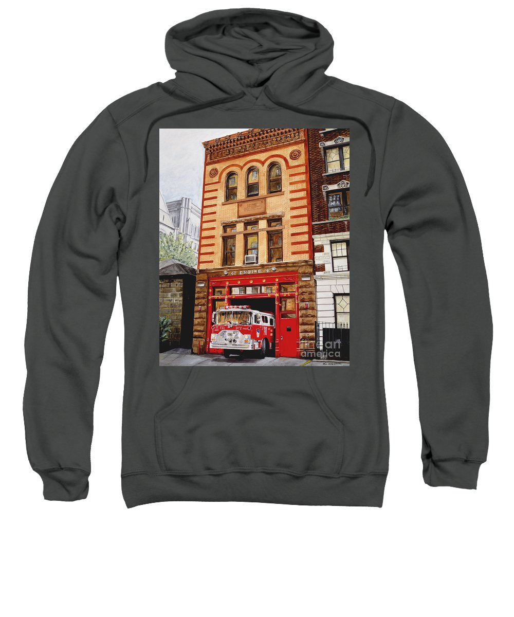 Firehouse Sweatshirt featuring the painting Engine Company 47 by Paul Walsh