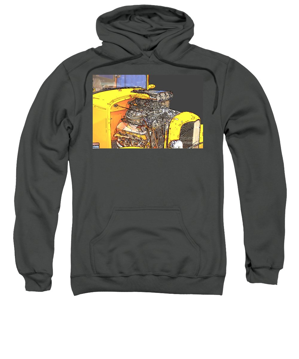 Sketch Sweatshirt featuring the photograph Engine Sketch 2 By Darrell Hutto by J Darrell Hutto