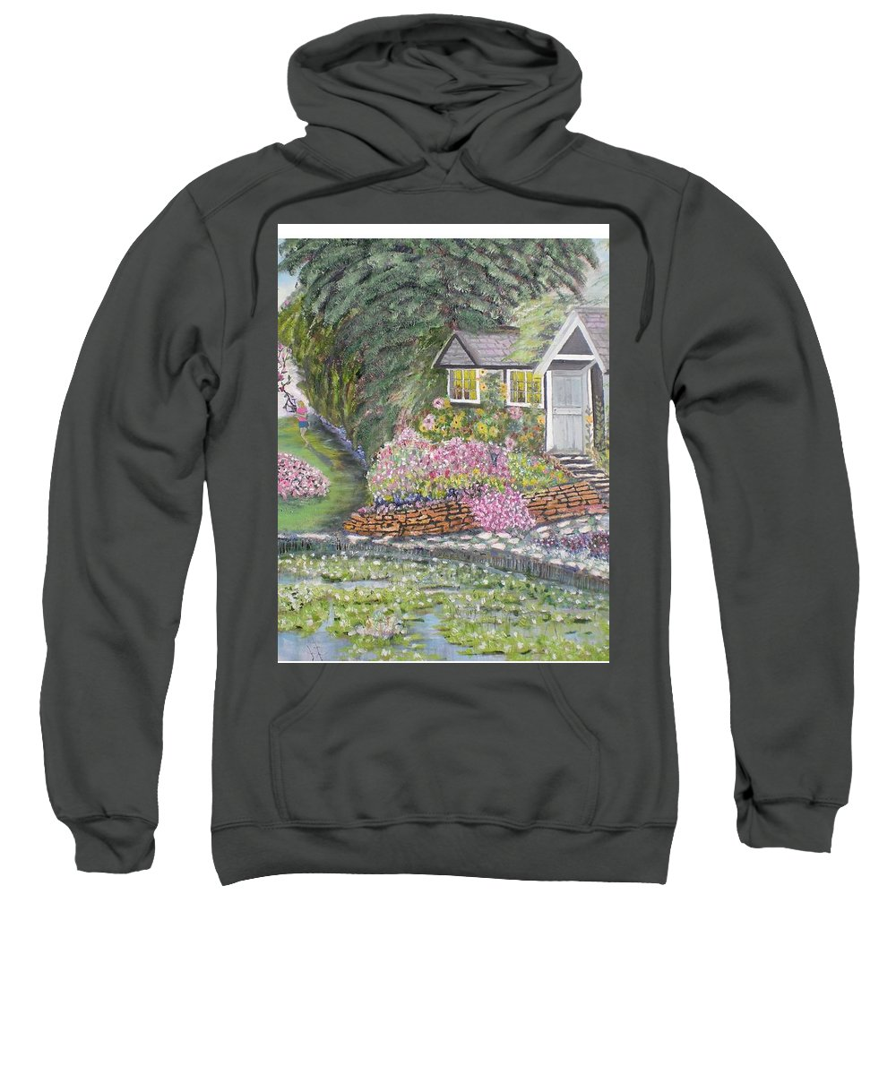 Cottage Sweatshirt featuring the painting English Cottage by Hal Newhouser