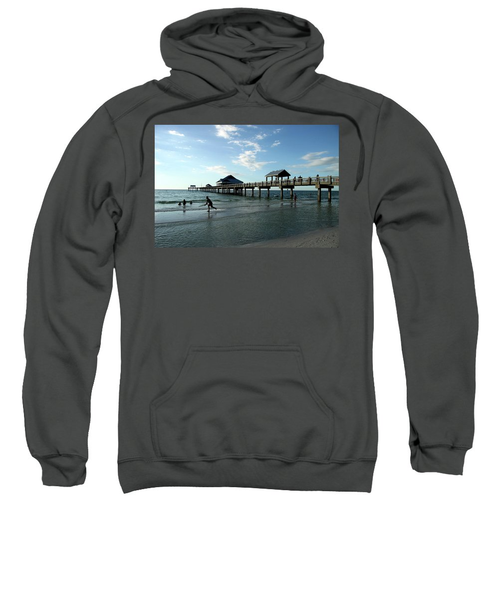 Beach Sweatshirt featuring the photograph Enjoy The Beach - Clearwater Pier by Christiane Schulze Art And Photography