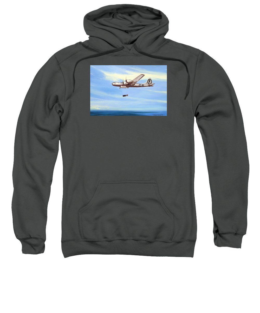 Military Sweatshirt featuring the painting Enola Gay by Marc Stewart