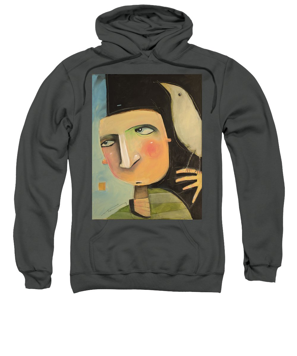 Man Sweatshirt featuring the painting Entertaining The Muse by Tim Nyberg