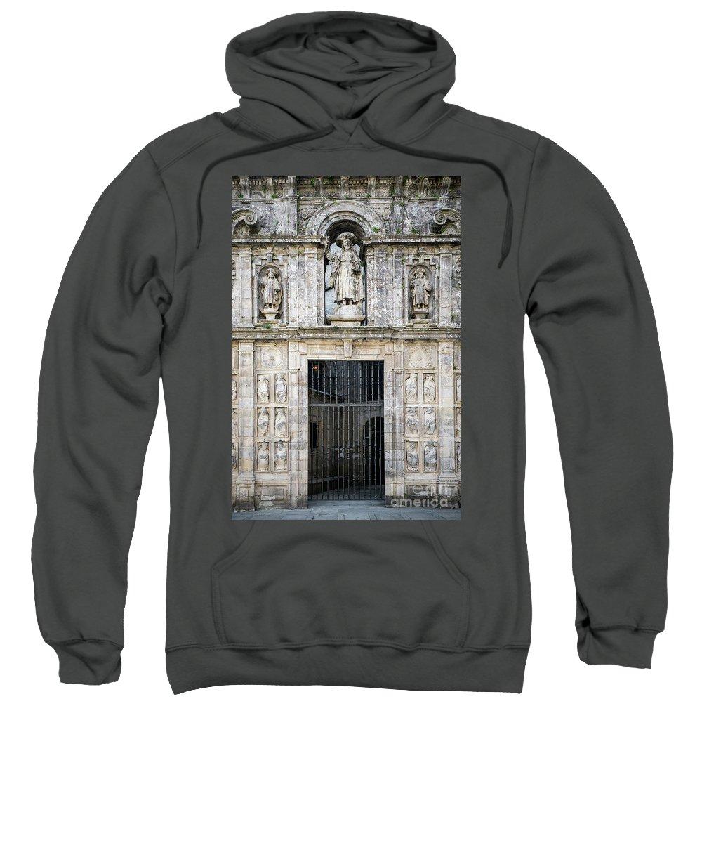 Ancient Sweatshirt featuring the photograph Entrance Facade In Landmark Cathedral Of Santiago De Compostela by Jacek Malipan