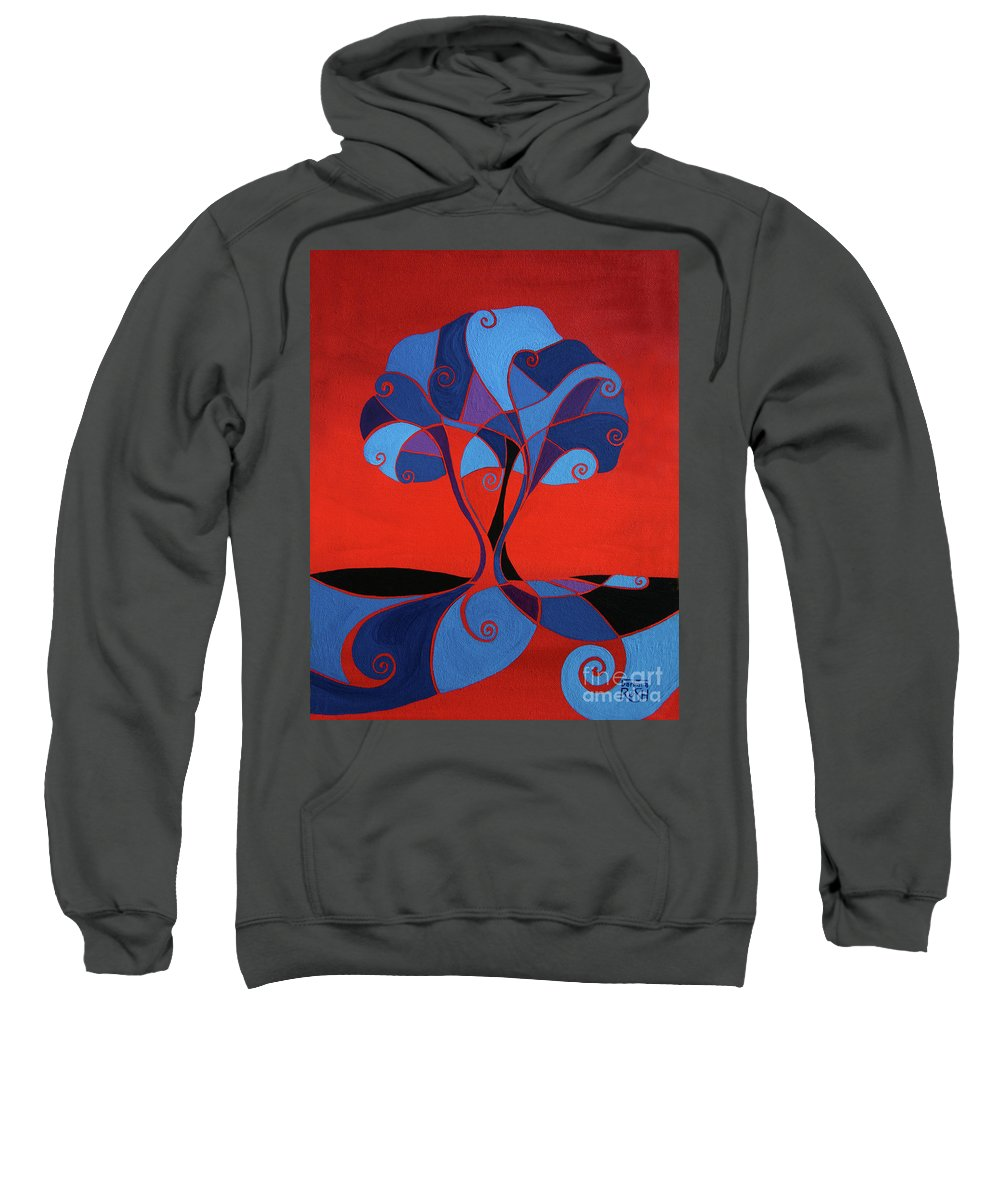 Tree Painting Sweatshirt featuring the painting Enveloped In Red by Barbara Rush