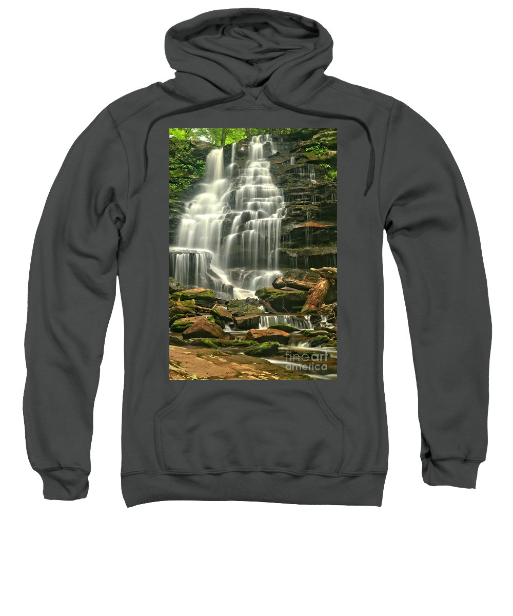 Erie Falls Sweatshirt featuring the photograph Erie Falls Gentle Cascades by Adam Jewell