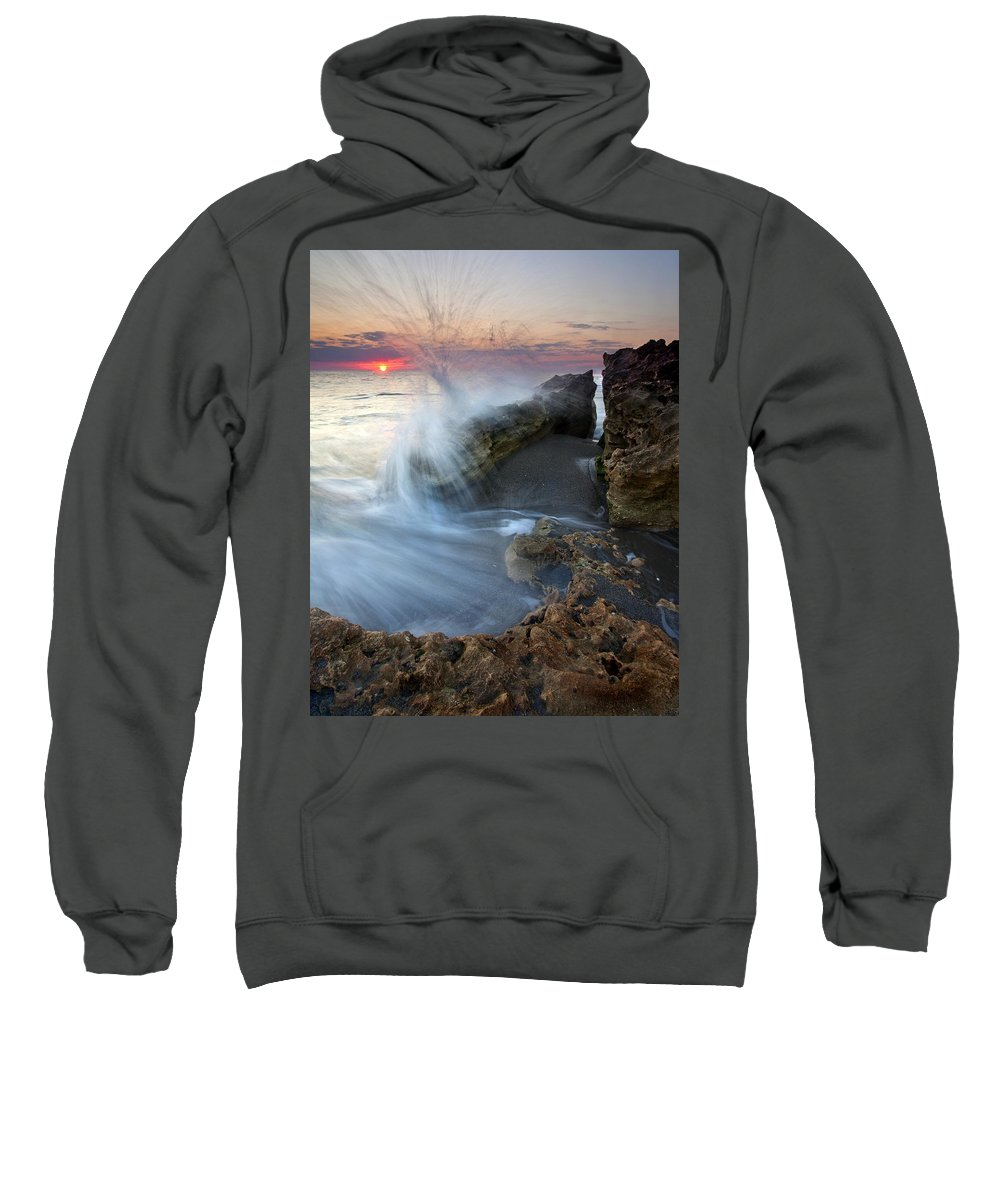 Blowing Rocks Sweatshirt featuring the photograph Eruption At Dawn by Mike Dawson