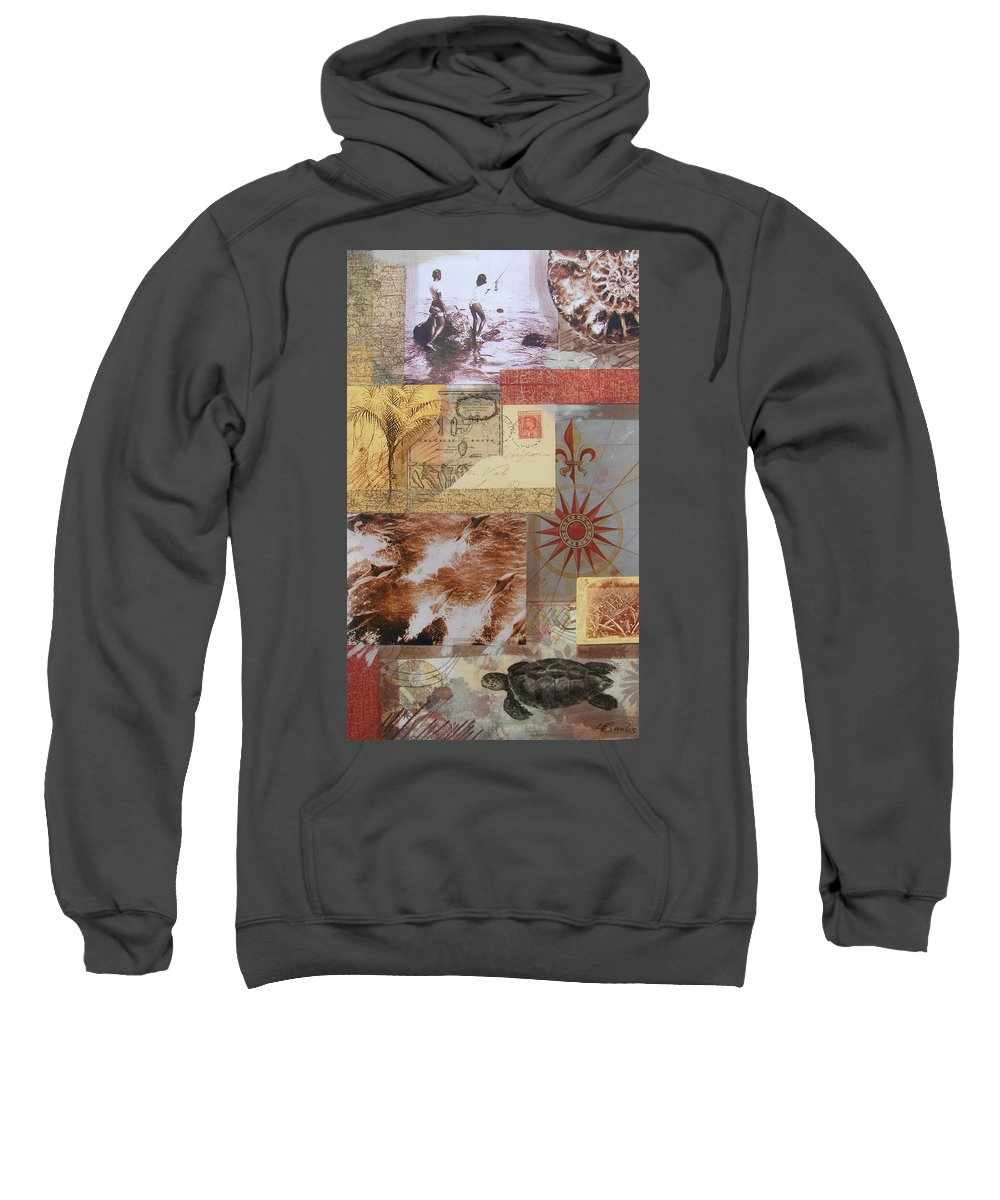 Travel Sweatshirt featuring the mixed media Escape And Explore IIi by Leigh Banks