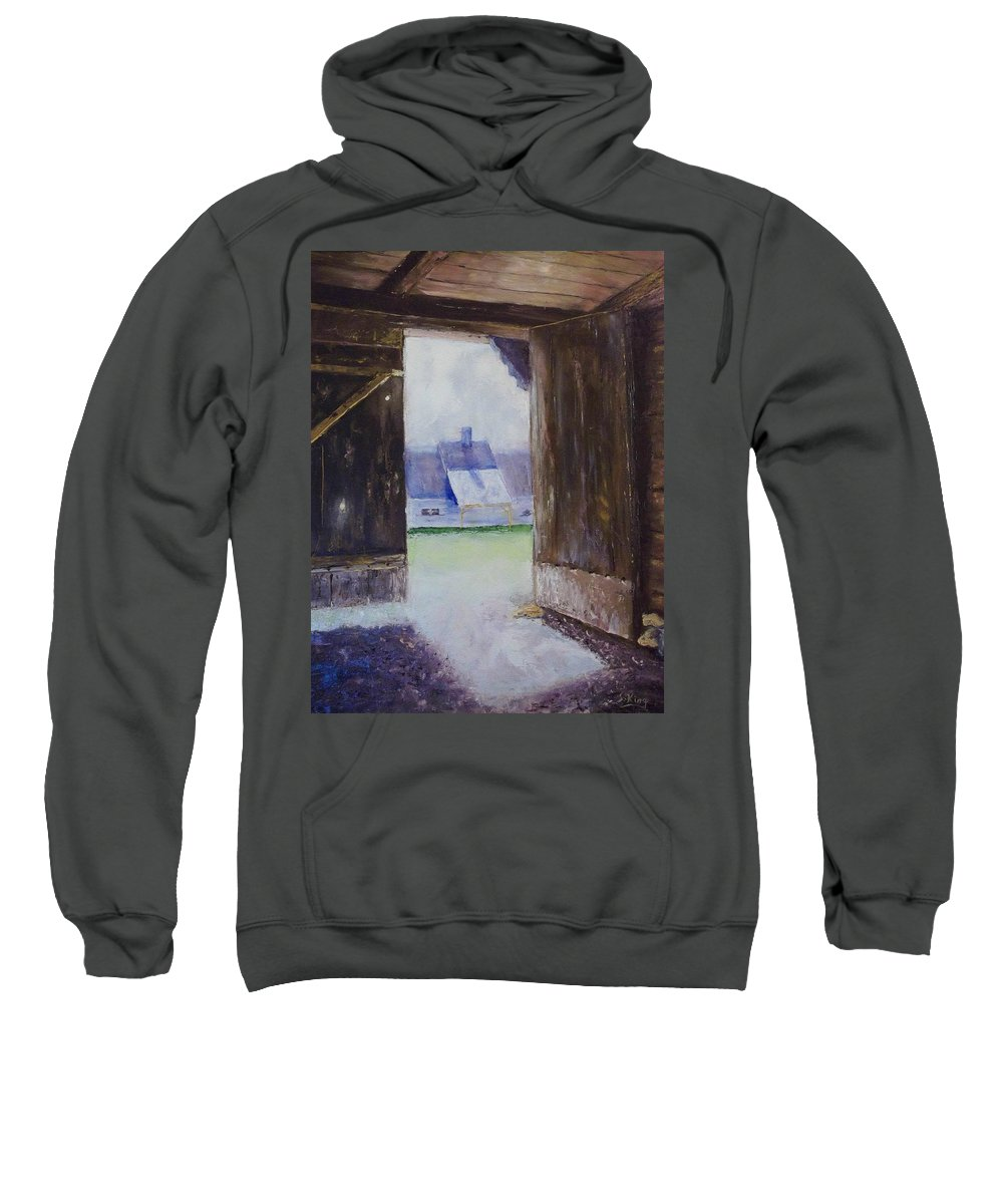 Shed Sweatshirt featuring the painting Escape The Sun by Stephen King