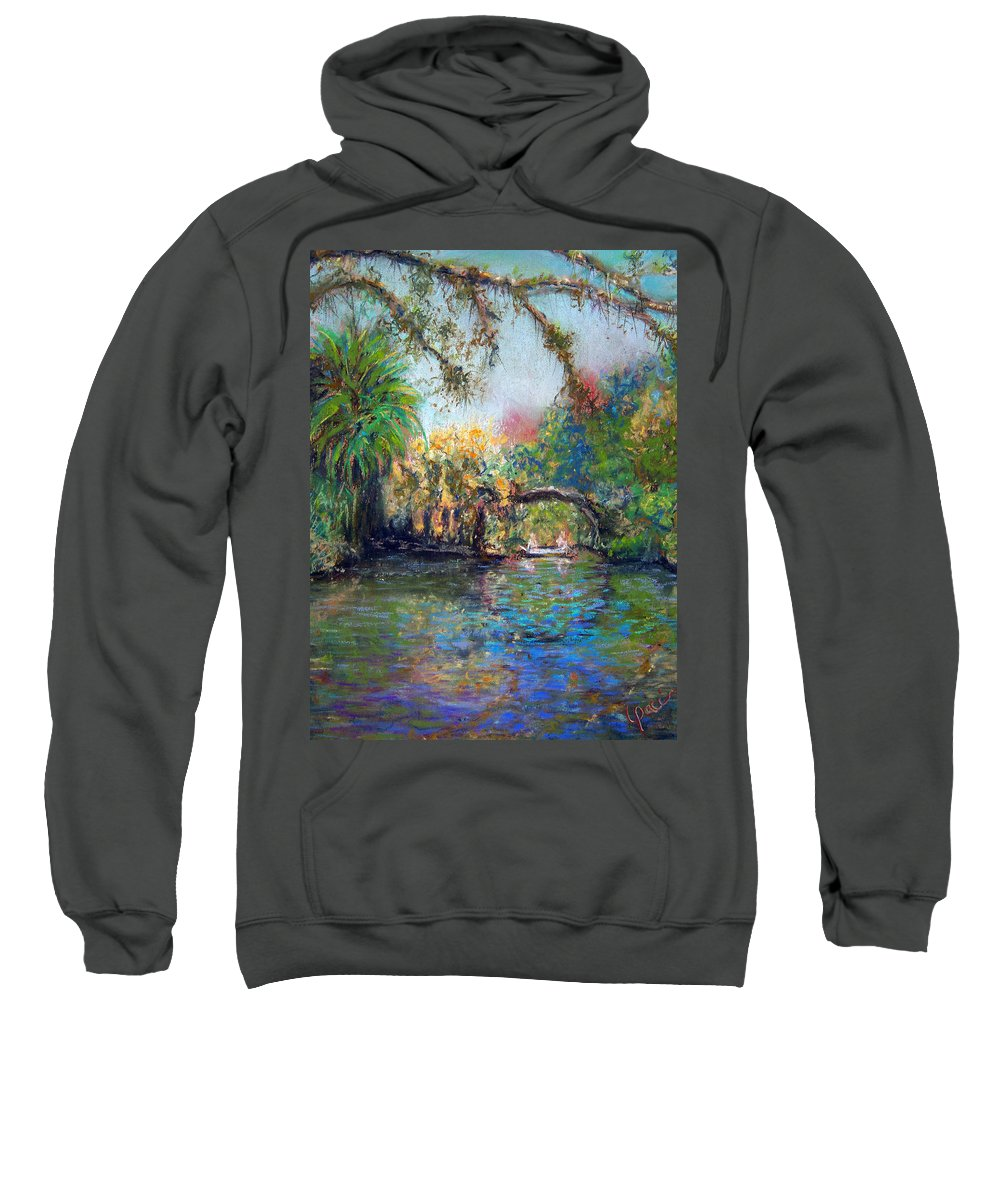Koreshan State Park Sweatshirt featuring the painting Estero River At Koreshan by Laurie Paci