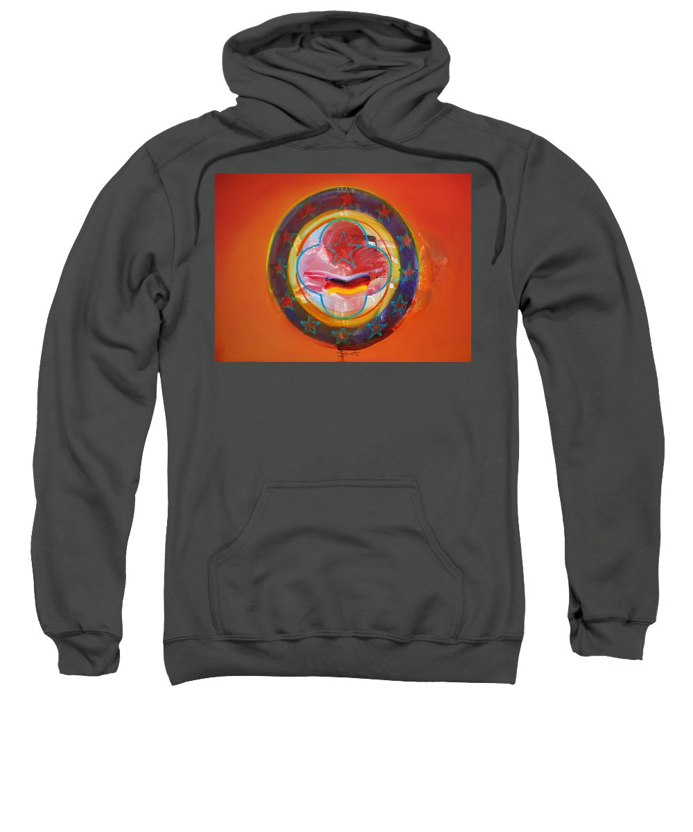 Symbol Sweatshirt featuring the painting Euro Smile by Charles Stuart