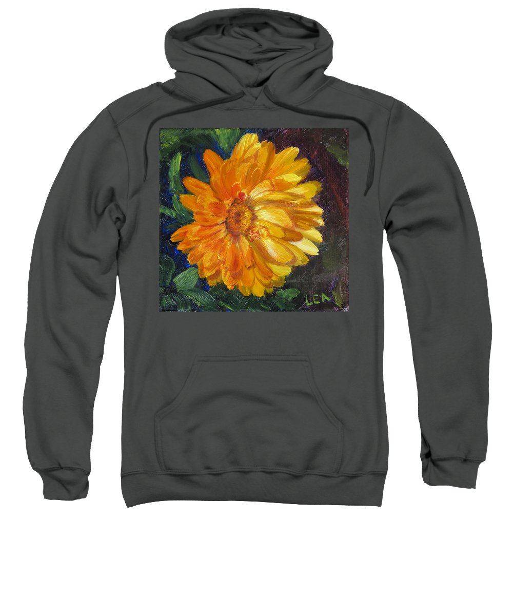 Flower Painting Sweatshirt featuring the painting Even The Flowers In Autumn Are Golden by Lea Novak