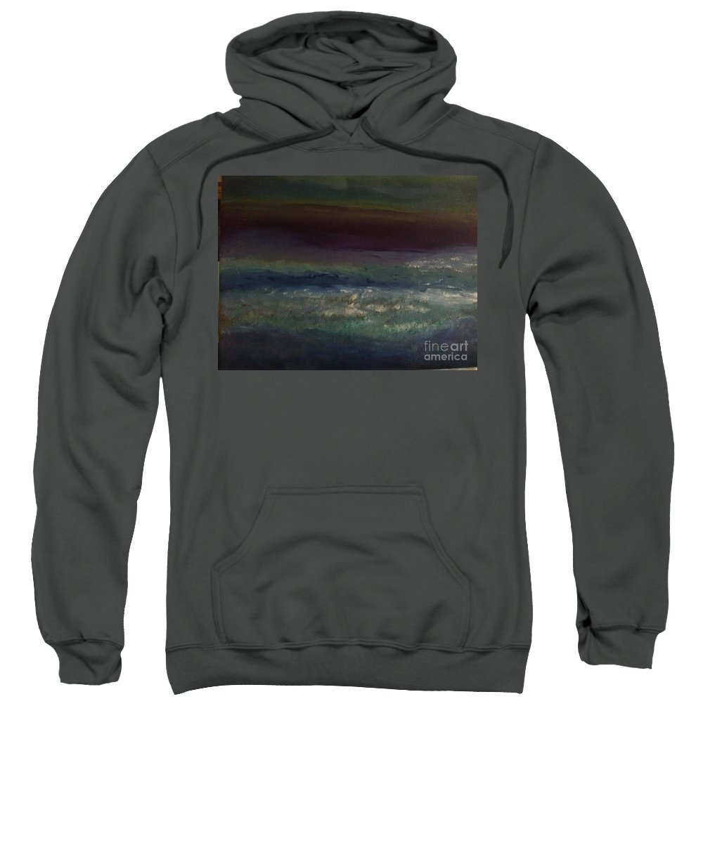 Sweatshirt featuring the painting Evening At The Beach by Loretta Kessler